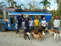 The team stands in front of a jeepney, a local taxi commonly used in the Philippines, the third of three field clinics sites in Dapdap, Daanbantayan